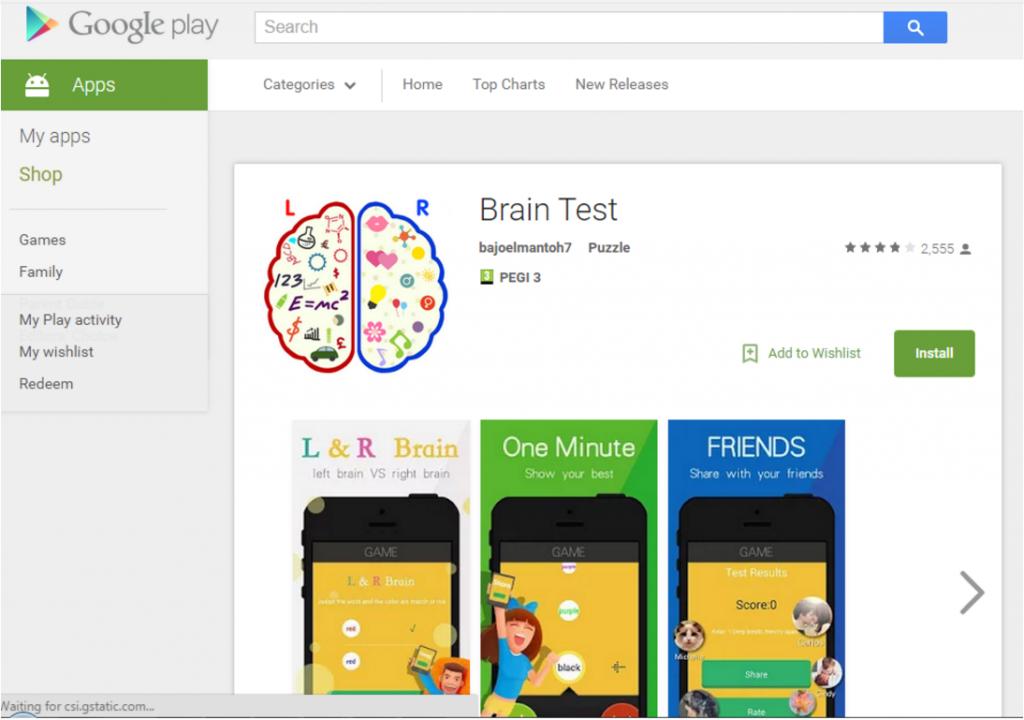 BrainTest Google Play Store